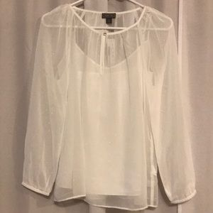 J.Crew Point Sur popover in pin dot chiffon